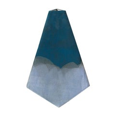 """""""Mountain"""" Geometric Vase in Matte Blue and White by John Sheppard"""
