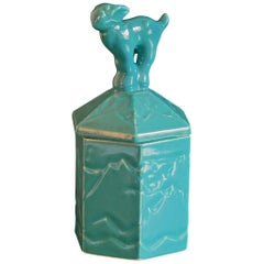 """Mountain Goat Humidor,"" Art Deco Lidded Container with Teal-Turquoise Glaze"
