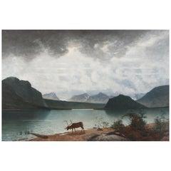 """""""Mountain Lake,"""" Saggat Trask Lapland Johan Ringsten or Per D. Holm, c. 1879"""