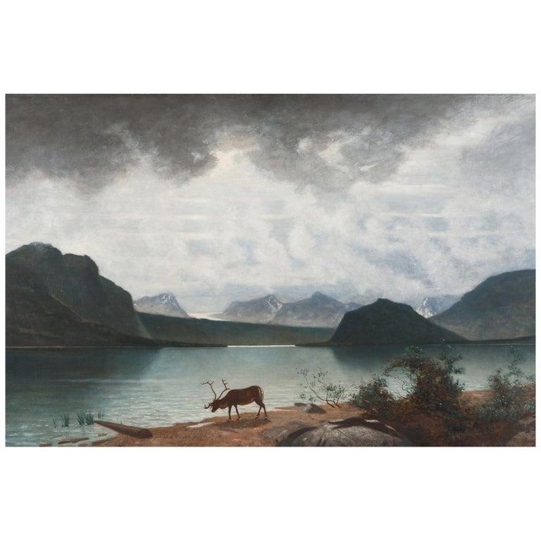 """Mountain Lake,"" Saggat Trask Lapland Johan Ringsten or Per D. Holm, c. 1879 For Sale"