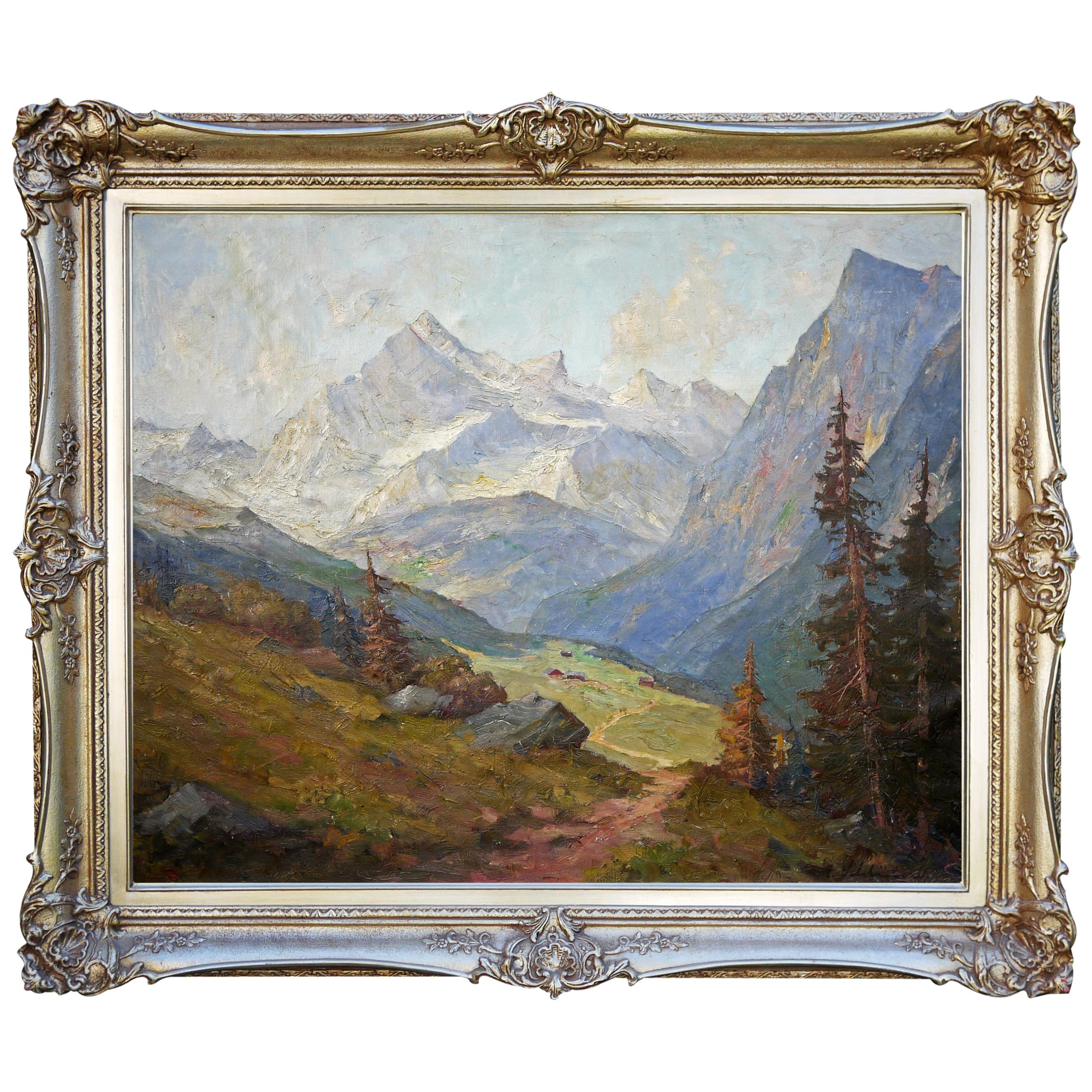 Mountain Landscape Painting, Oil on Canvas, 1950s