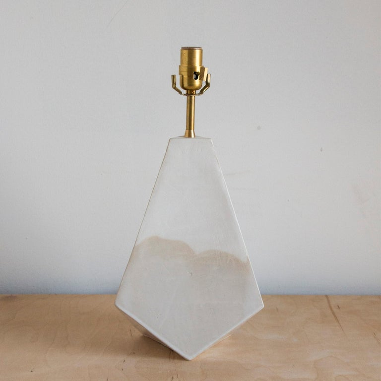 American 'Mountain' Matte and Glossy White Geometric Ceramic Table Lamp For Sale