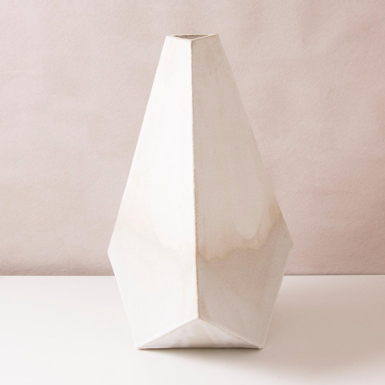 Modern 'Mountain' Matte and Glossy White Geometric Ceramic Vases, Set of 3 For Sale