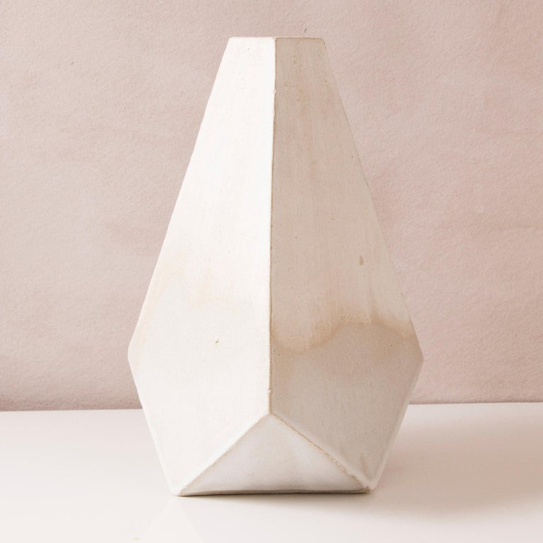 American 'Mountain' Matte and Glossy White Geometric Ceramic Vases, Set of 3 For Sale