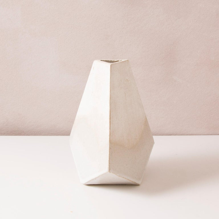 'Mountain' Matte and Glossy White Geometric Ceramic Vases, Set of 3 In New Condition For Sale In Bronx, NY