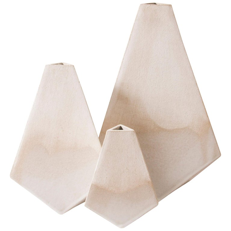 'Mountain' Matte and Glossy White Geometric Ceramic Vases, Set of 3 For Sale