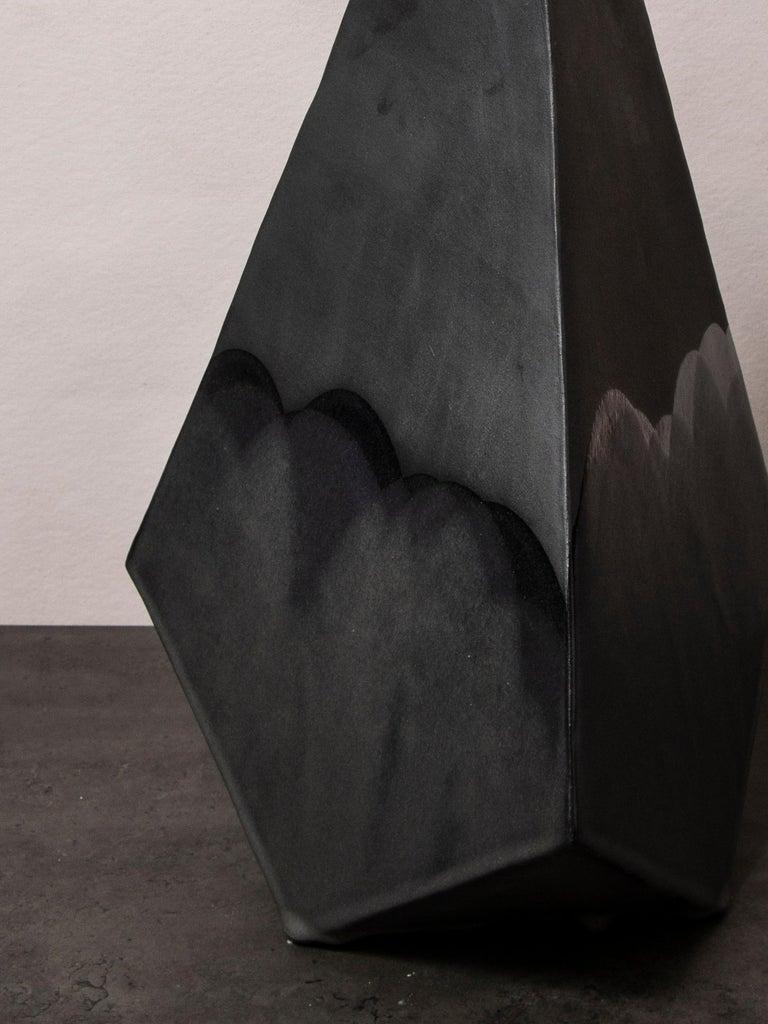 Modern 'Mountain' Matte and Satin Black Geometric Ceramic Table Lamp For Sale