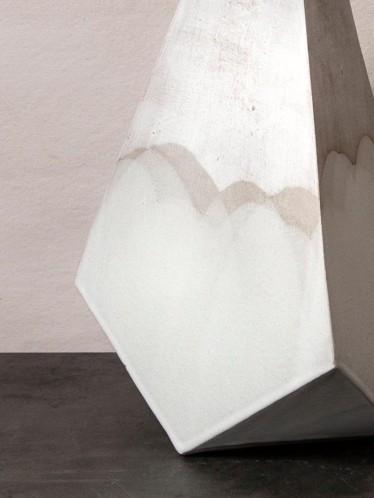 Modern 'Mountain' Matte and Satin White Geometric Ceramic Table Lamp For Sale