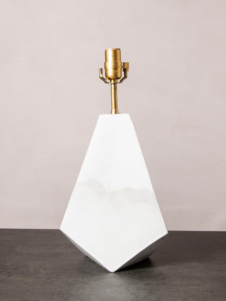 American 'Mountain' Matte and Satin White Geometric Ceramic Table Lamp For Sale