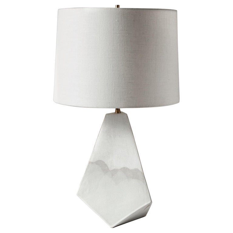 'Mountain' Matte and Satin White Geometric Ceramic Table Lamp For Sale
