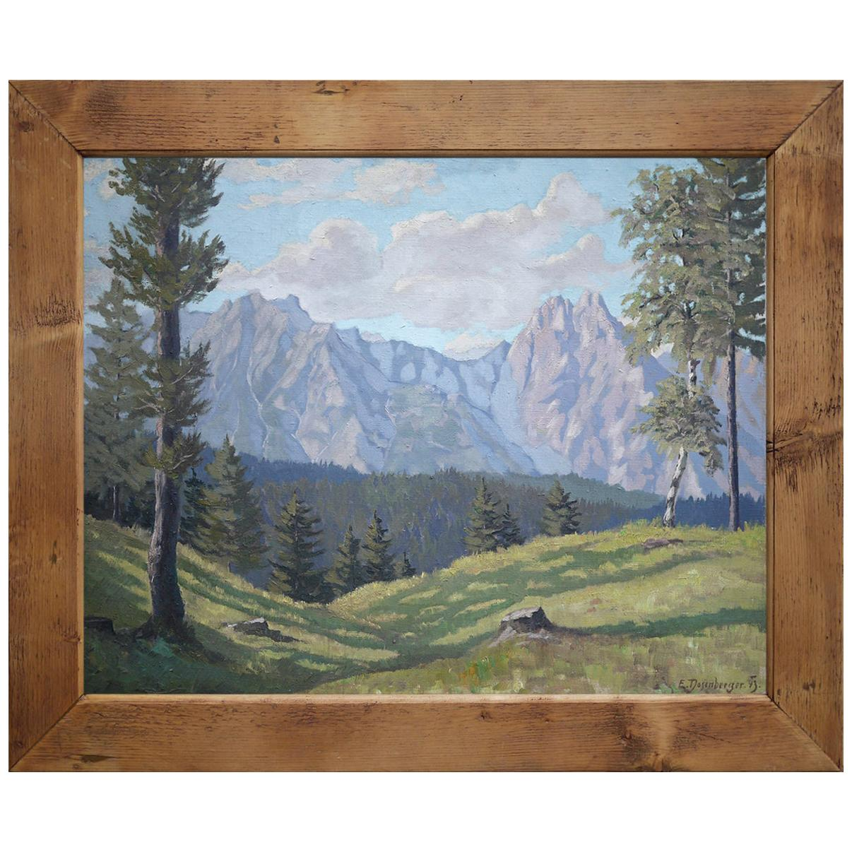 Mountain Painting, Alps, Tyrol, Oil on Canvas, Ernst, Dosenberger, 1943