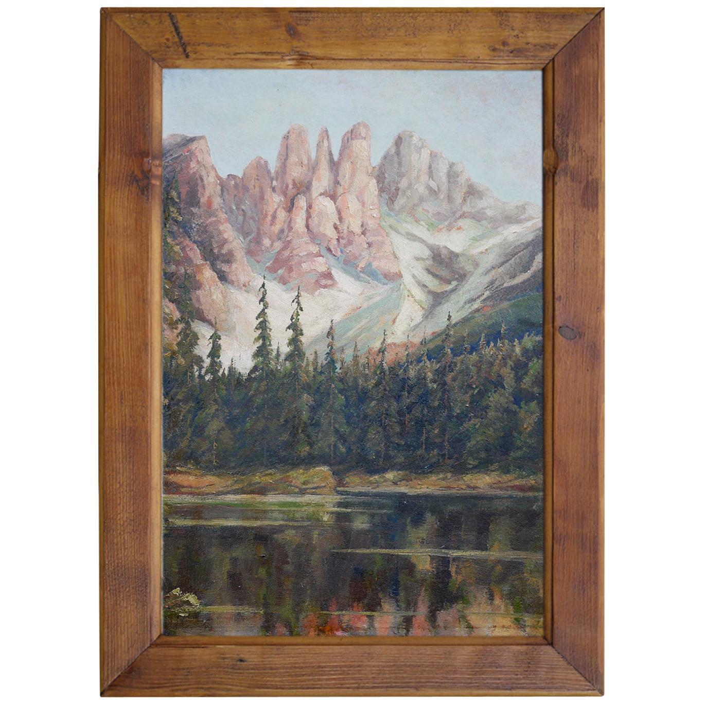 Mountain Painting, Dolomites, Oil on Cardboard, 1920