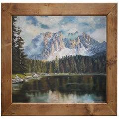 Mountain Painting, Dolomites, Oil on Cardboard, M. Heuberger C., 1940