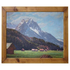 Mountain Painting in Summer, Oil on Canvas Alps, Fritz Hildebrandt, 1930