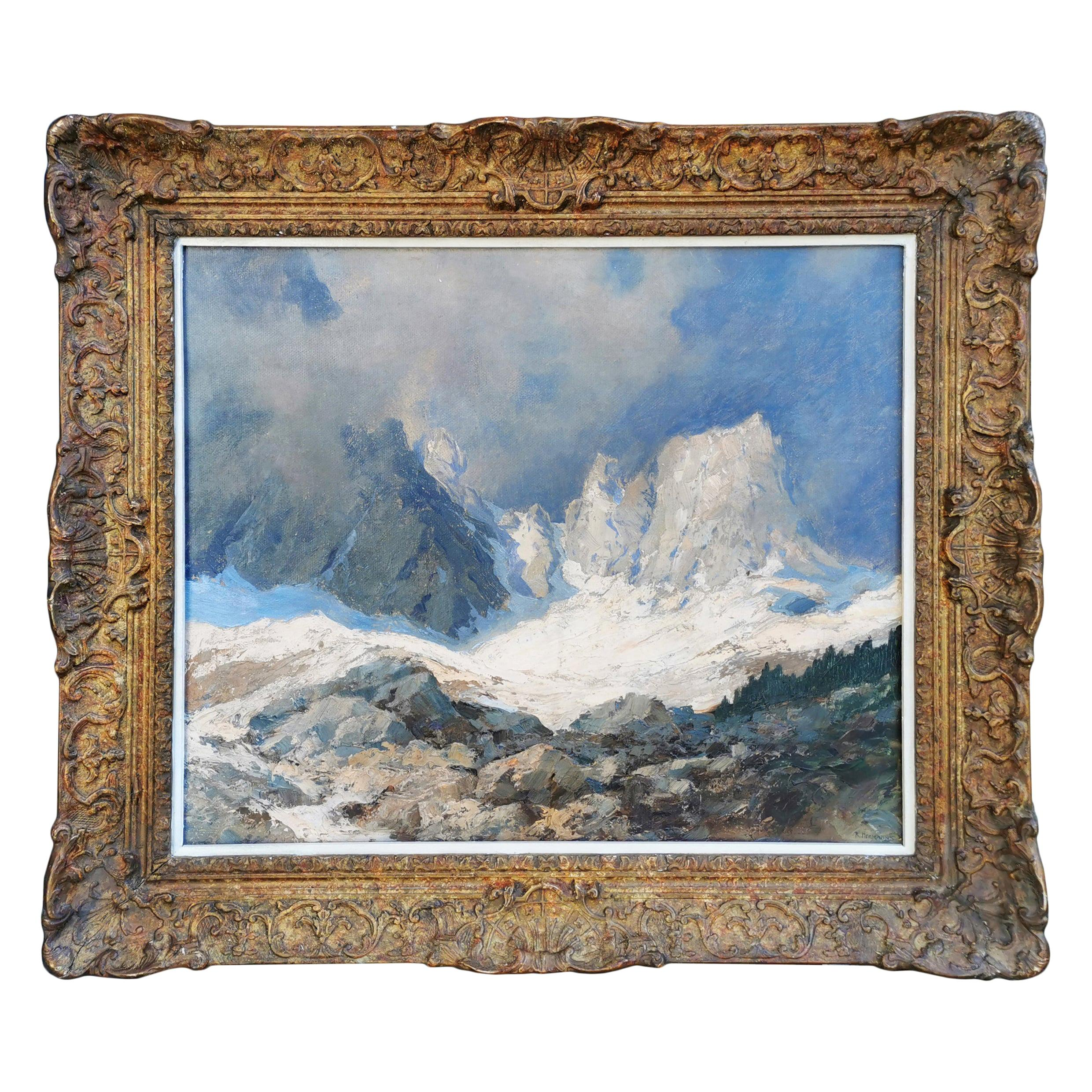 Mountain Painting, Dolomites, Oil on Board by Rudolf Hermanns, 1910