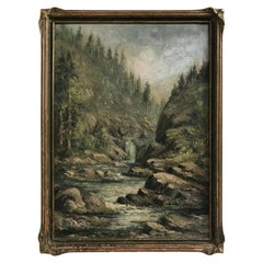 Mountain River Scene Landscape Painting, American Early 20th Century