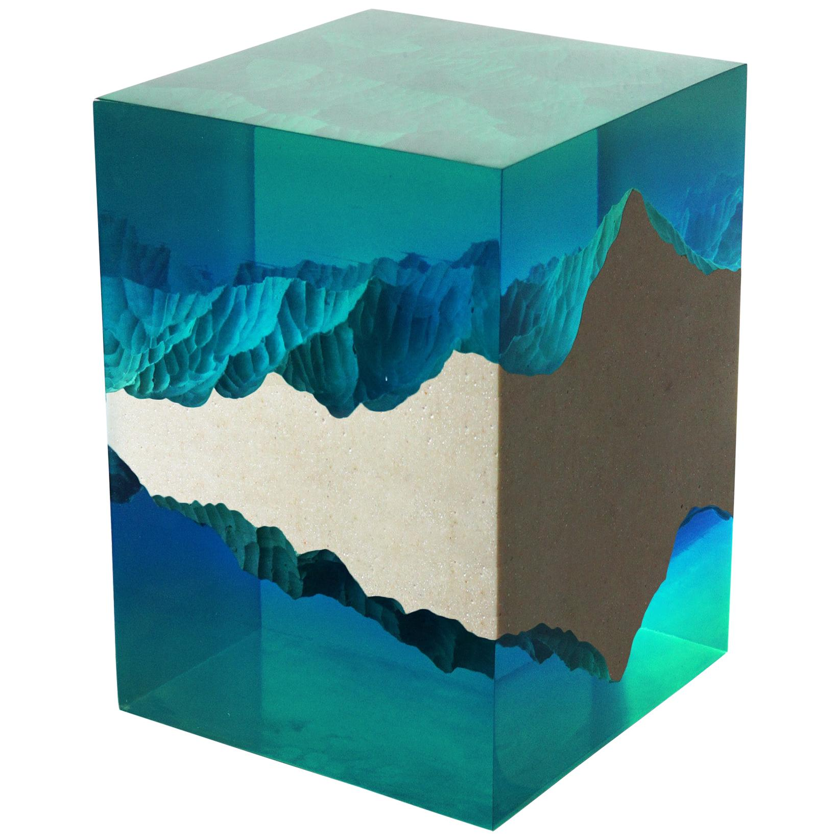 Mountain Side Table Stool by Eduard Locota, Acrylic Glass Contemporary Sculpture