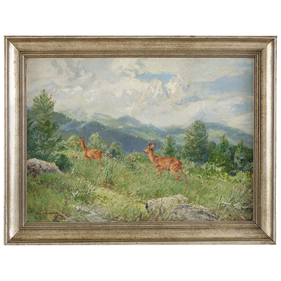 """""""Mountain Side with Deer,"""" Oil on Canvas by German Painter Wilhelm Buddenburg"""
