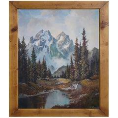 Mountain Summit Oil on Canvas Painting, Dolomites, 1950