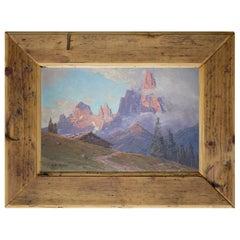Mountain Sunset Oil on Board Painting, Fricker, 1920