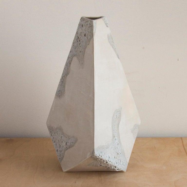 Modern 'Mountain' Textured White Geometric Ceramic Vases, Set of 3 For Sale