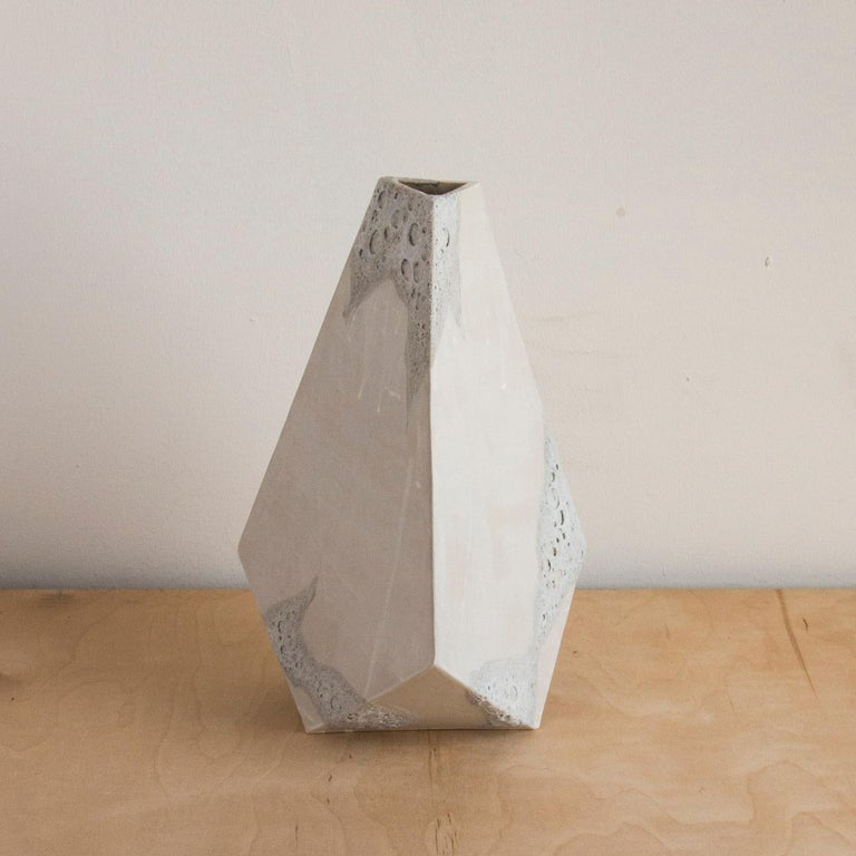 American 'Mountain' Textured White Geometric Ceramic Vases, Set of 3 For Sale