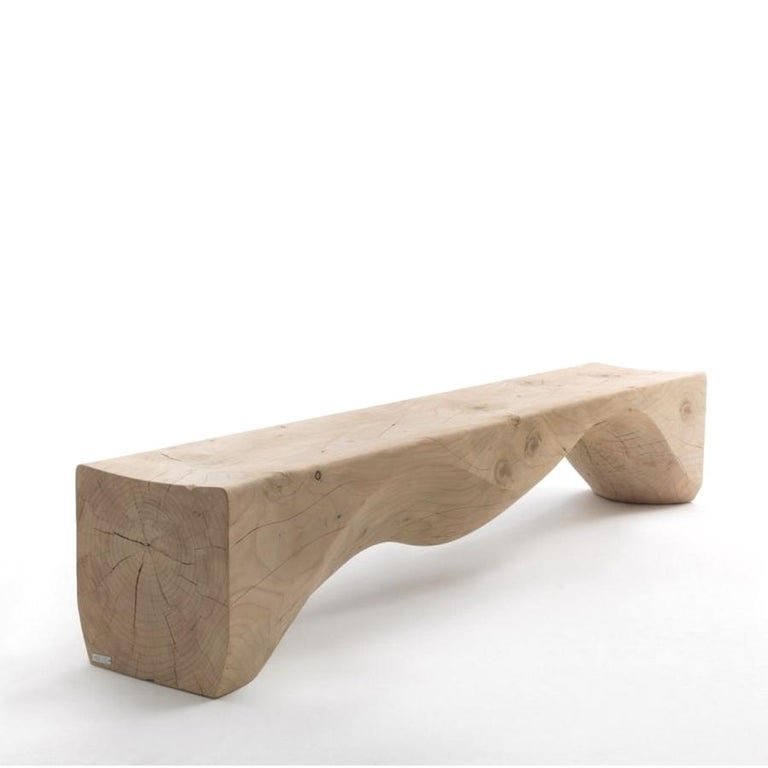 Mountains Cedar Bench, Designed by Hsiao-Ching Wang, Made in Italy In New Condition For Sale In Beverly Hills, CA