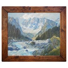 Mountains Landscape Oil Painting, Dolomites, around 1930