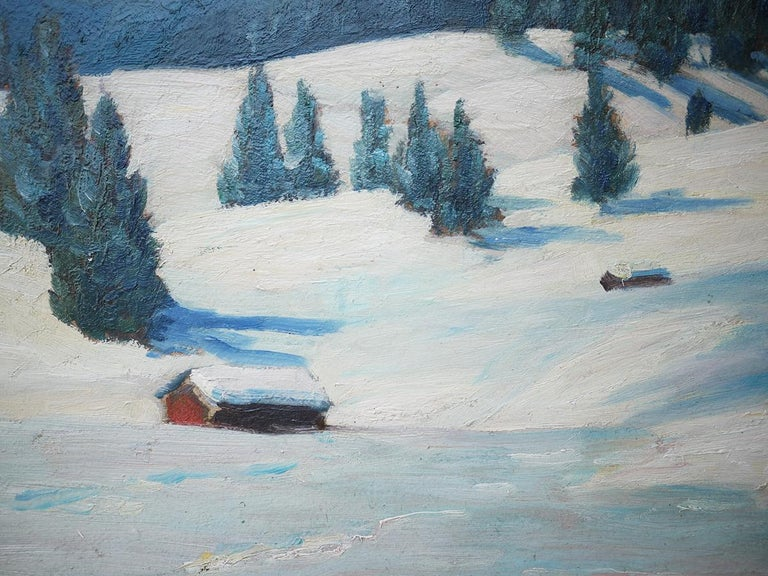 Mountains with Snow Painting, Oil on Cnavas, Otto Arndts, 1920 For Sale 6
