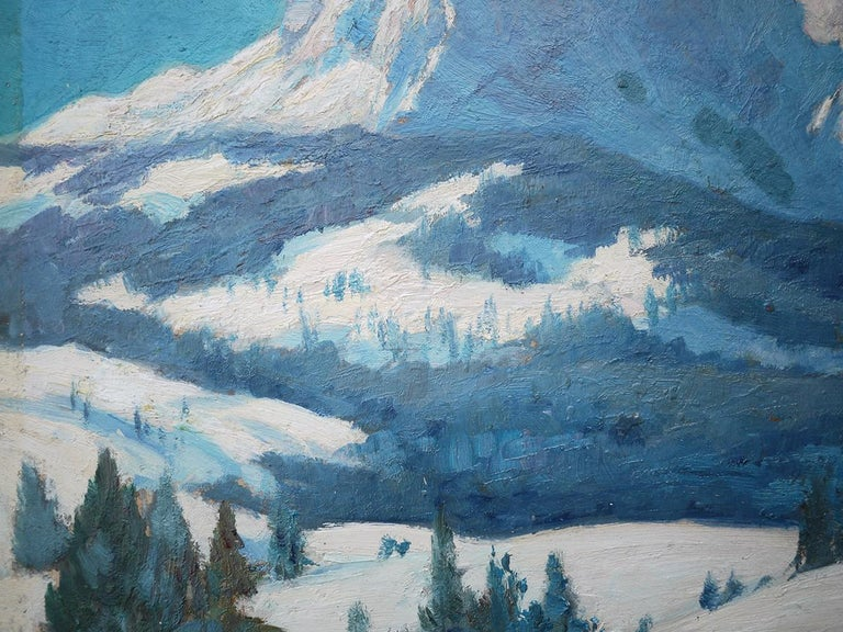 German Mountains with Snow Painting, Oil on Cnavas, Otto Arndts, 1920 For Sale