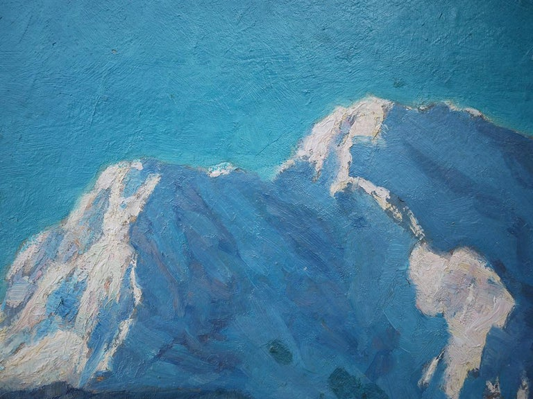 Mountains with Snow Painting, Oil on Cnavas, Otto Arndts, 1920 In Excellent Condition For Sale In Albignasego, IT