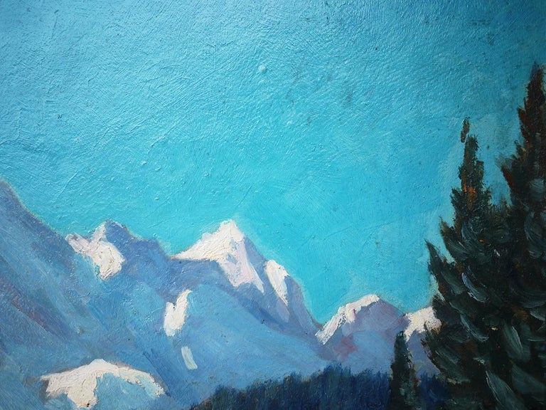 1920s Mountains with Snow Painting, Oil on Cnavas, Otto Arndts, 1920 For Sale