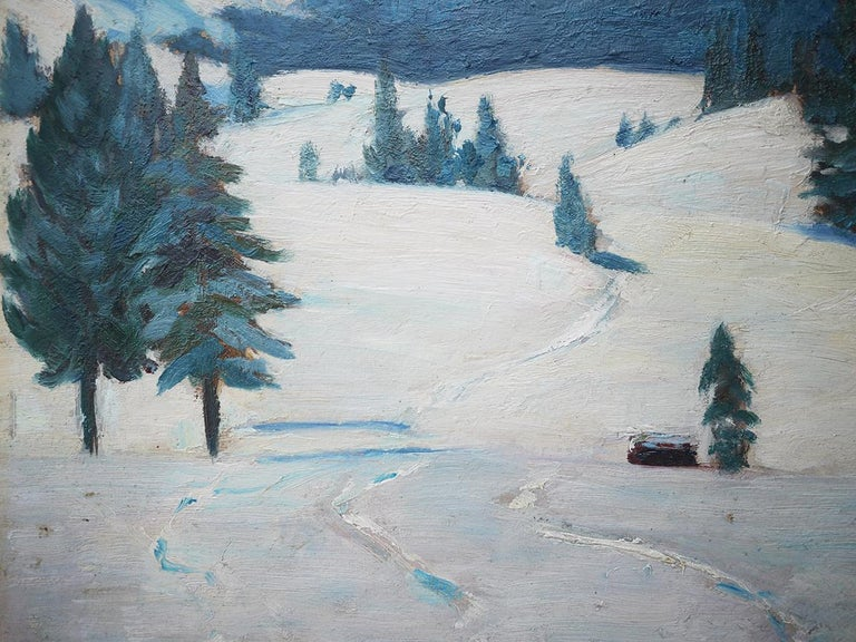 Mountains with Snow Painting, Oil on Cnavas, Otto Arndts, 1920 For Sale 3
