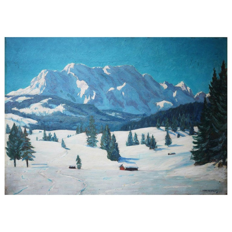 Mountains with Snow Painting, Oil on Cnavas, Otto Arndts, 1920 For Sale
