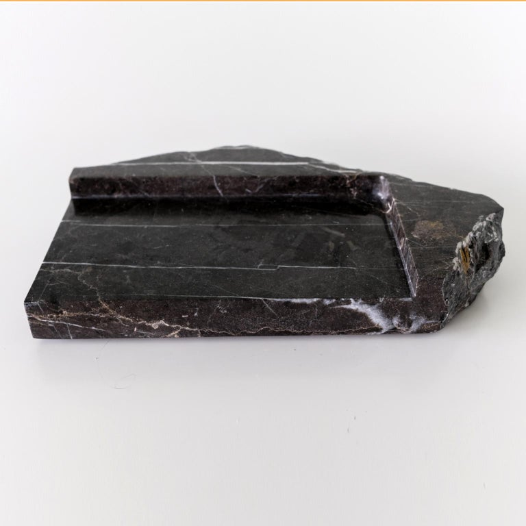 Contemporary Mountainscapes Black Marble Tray For Sale