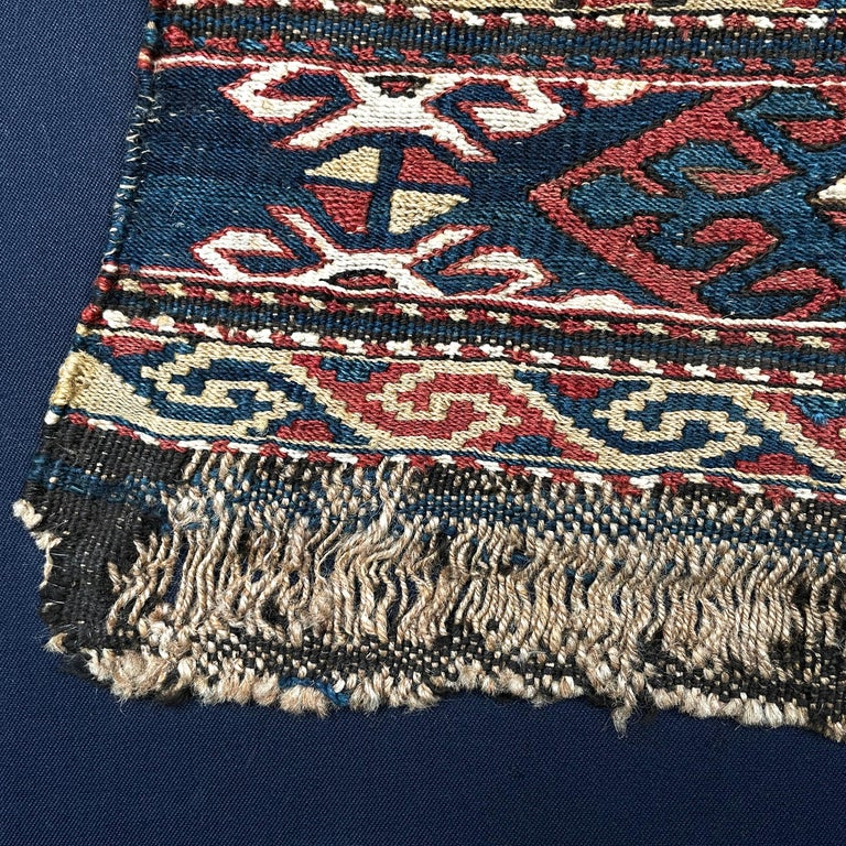 Mounted 19th Century Soumak Rug Fragment For Sale 5