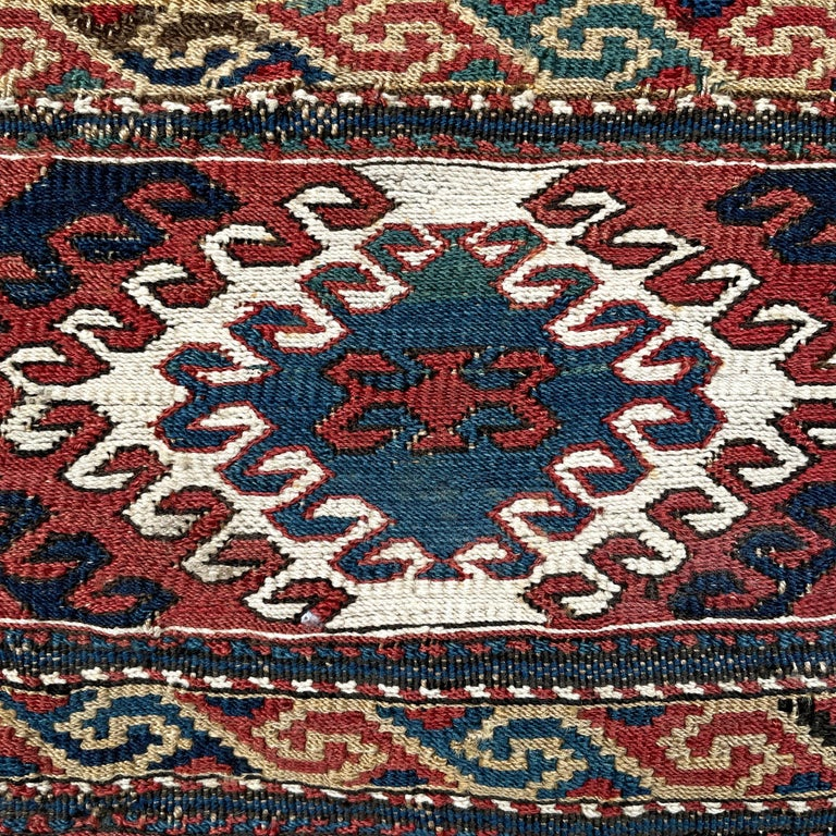 Azerbaijani Mounted 19th Century Soumak Rug Fragment For Sale