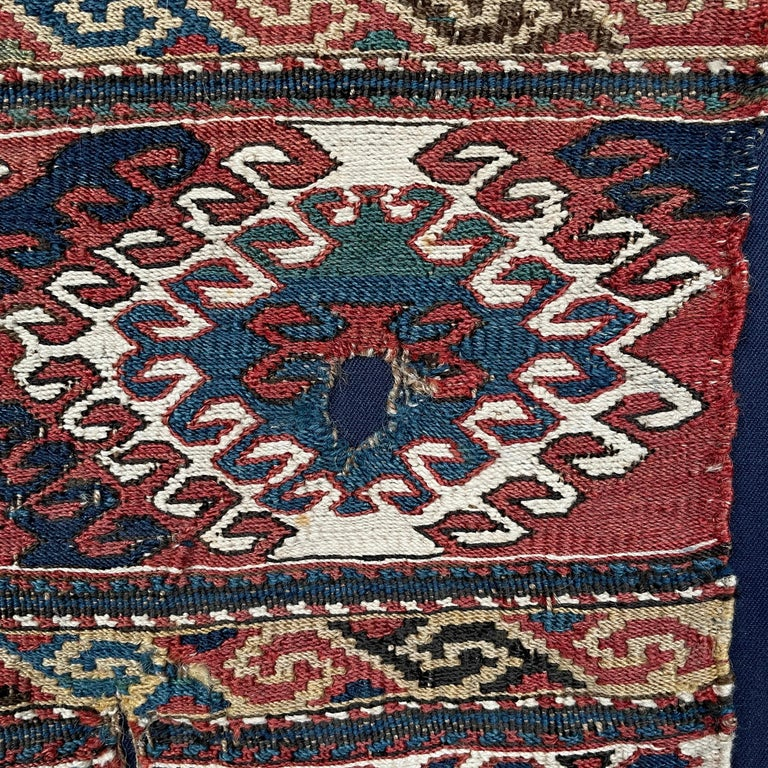 Mounted 19th Century Soumak Rug Fragment In Good Condition For Sale In Chicago, IL