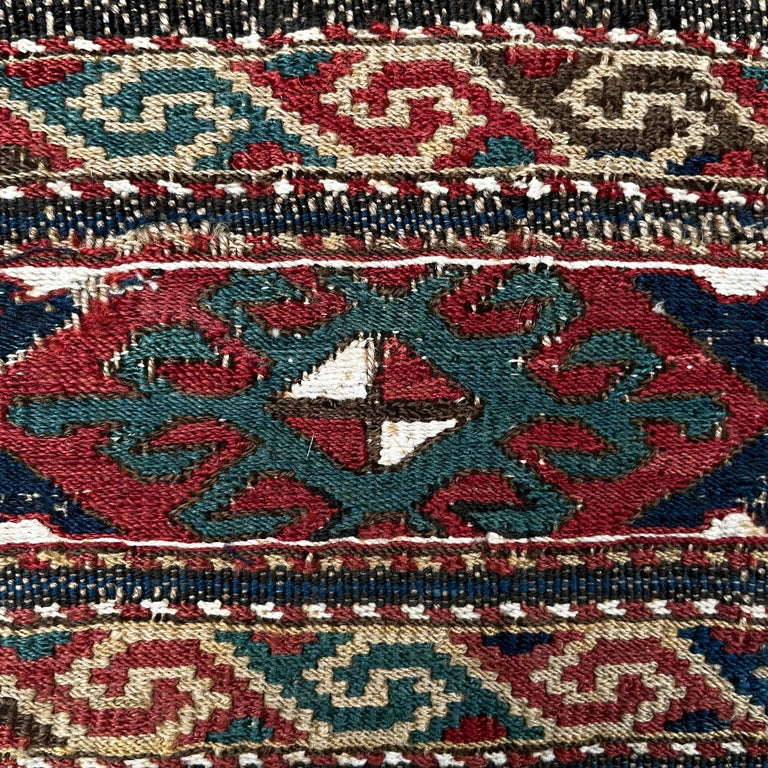 Mounted 19th Century Soumak Rug Fragment For Sale 1