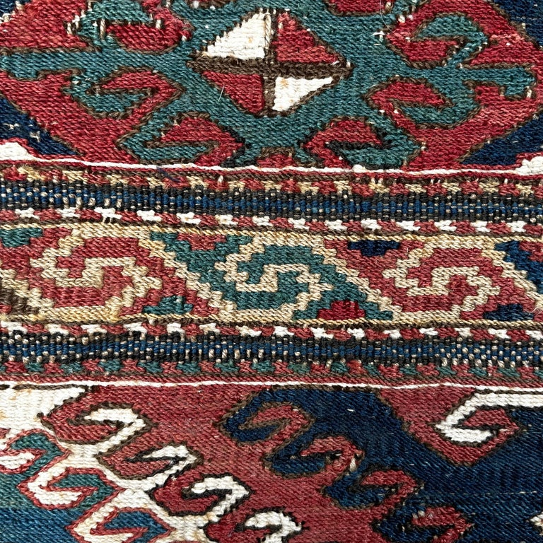 Mounted 19th Century Soumak Rug Fragment For Sale 2