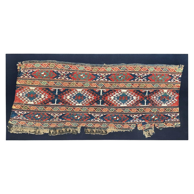 Mounted 19th Century Soumak Rug Fragment For Sale