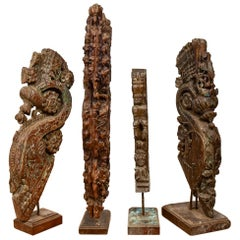 Mounted Antique Wooden Carvings, 20th Century