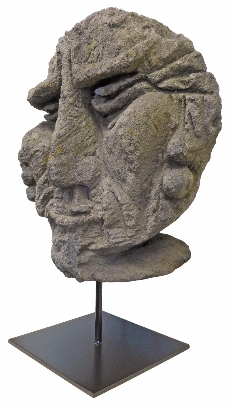 Hand-Carved Mounted Carved Lava Stone Human Face Sculpture For Sale