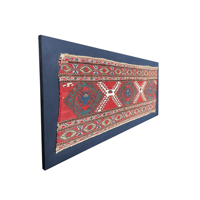 Tribal Mounted Early 20th Century Soumak Rug Fragment For Sale
