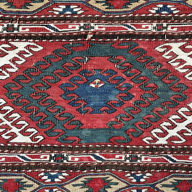 Azerbaijani Mounted Early 20th Century Soumak Rug Fragment For Sale