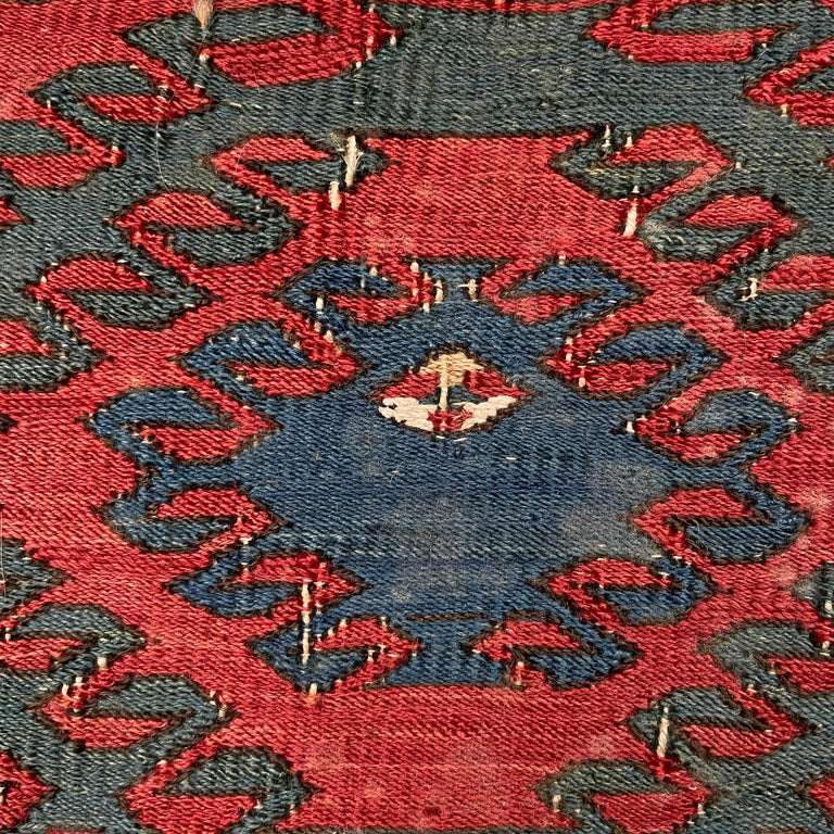 Mounted Early 20th Century Soumak Rug Fragment In Good Condition For Sale In Chicago, IL