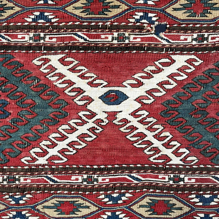 Wool Mounted Early 20th Century Soumak Rug Fragment For Sale