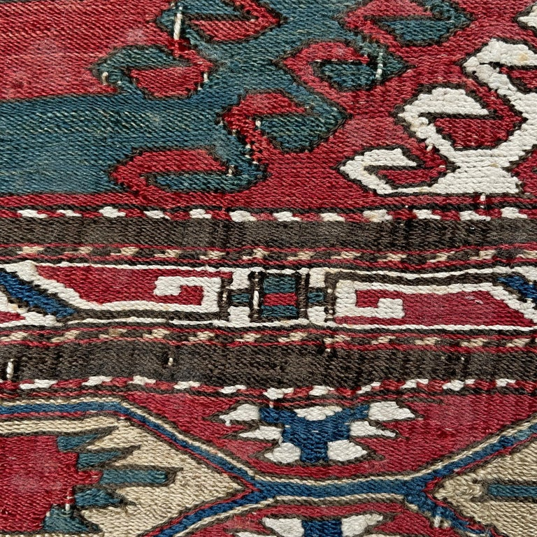 Mounted Early 20th Century Soumak Rug Fragment For Sale 1