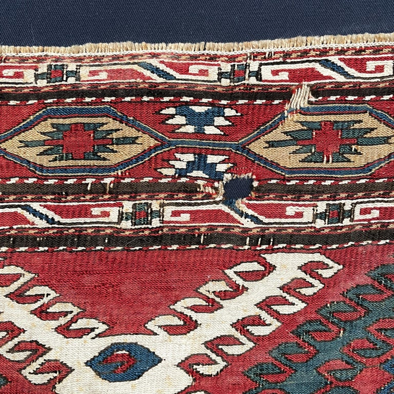 Mounted Early 20th Century Soumak Rug Fragment For Sale 2