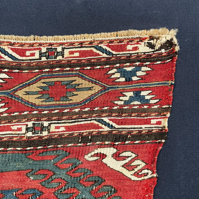 Mounted Early 20th Century Soumak Rug Fragment For Sale 3